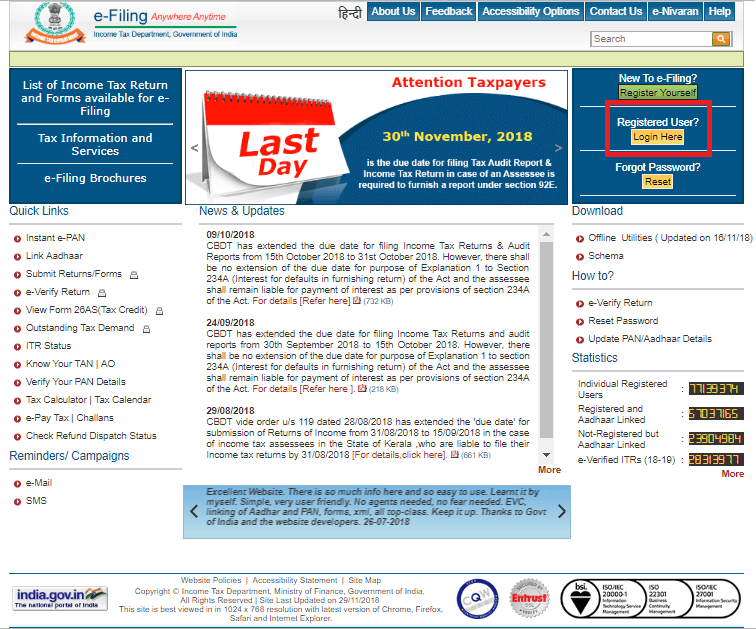 login to e-filing account