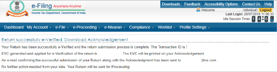 5th Step Towards ITR E-Verification