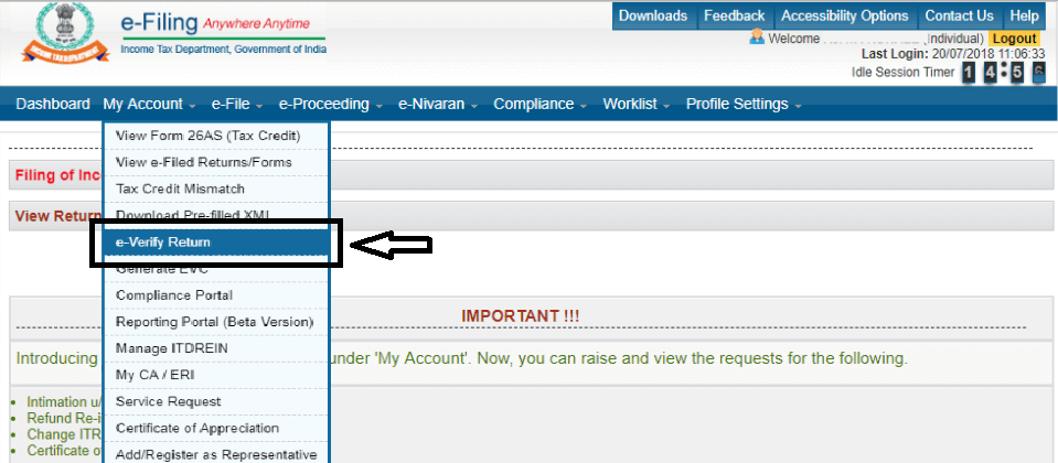 Step 2nd Towards ITR E-Verification through axis net banking