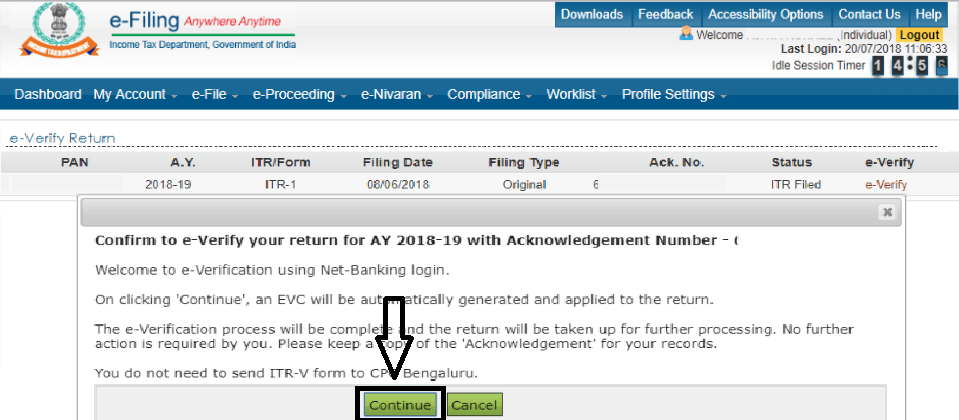 Step 4th Towards ITR E-Verification through axis net banking