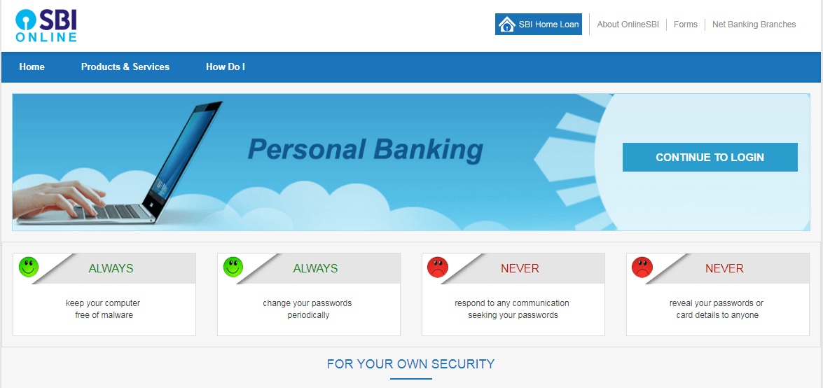 continue to sbi login