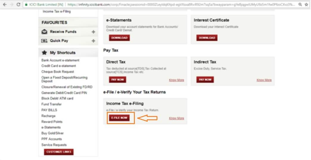 E-File Income Tax Return via ICICI Bank Step 2nd