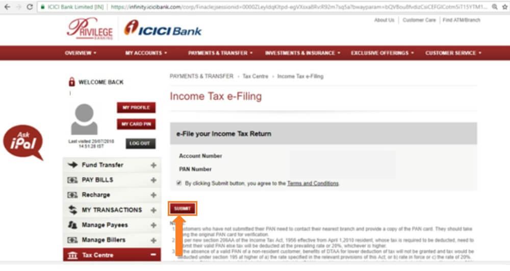 E-File Income Tax Return via ICICI Bank Step 3rd
