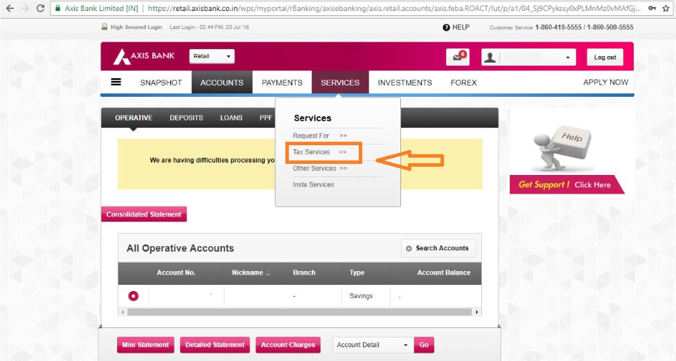 axis bank login -- services