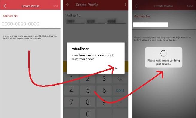 Enter Aadhaar No While Creating The mAadhaar Profile
