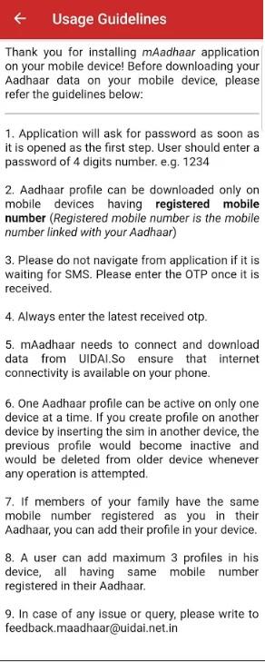 m-aadhaar usage guidlines